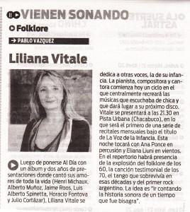Liliana Vitale- diario popular-vienen sonando 18-4-2015
